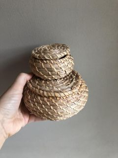 Two Small Woven Baskets with Lids