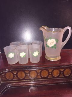 ANTIQUE FROSTED GLASS PITCHER 6 GLASSES