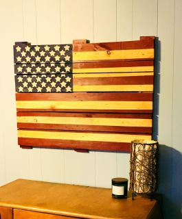 Solid Wood Rustic American Flag~40 x30 ~Hand Painted~Very Sturdy. FCFS/NO HOLDS