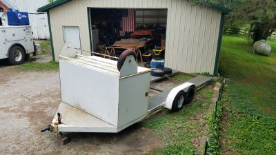 OPEN RACE TRAILER WITH TIRE RACK