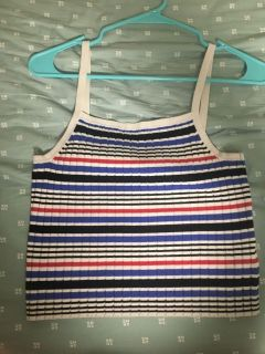 Blue, white, and black striped tank top