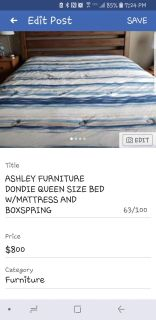 ASHLEY FURNITURE DONDIE QUEEN SIZE BED W/MATTRESS AND BOX SPRINGS