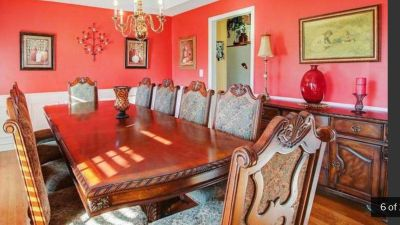 Dining Room Table, 10 Chairs & Matching Hutch