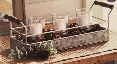 NEW 3 Candle Galvanized Tabletop Piece will hold volitive candles (I have 2)