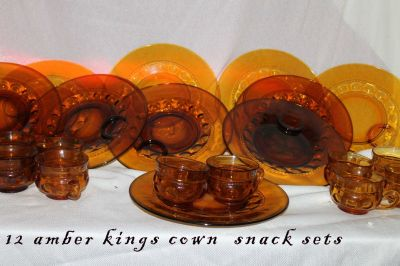 vintage amber snack plates with cups ( 1970,s)