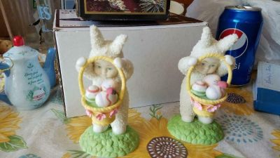 "2 Dept 56 ""SNOWBUNNIES"" Easter Figurines! Nice condition!"