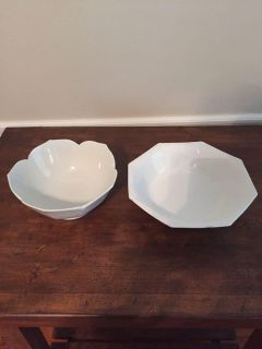 Set of 2 white serving bowls-8 and 9