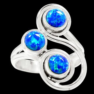 New - Blue Fire Opal 925 Sterling Silver Ring - Size 6