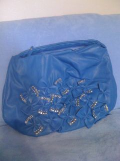 New,Big,Blue Bows&Studs Leather Purse