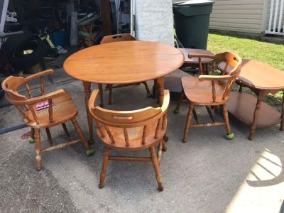 Solid wood Kitchen table with extension leaf(not shown) with chairs and end tables
