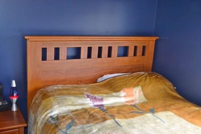 Queen Head Board with bed frame with 2 night stands and dresser with mirror. Mattress and Box sp...