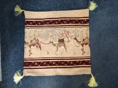 """Pillow Cover 17"""" x17"""" Maroon, tan, gold"""
