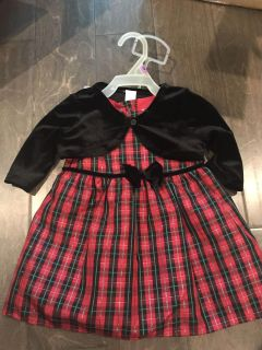 George red Christmas dress 12 month new! With sweater and diaper cover