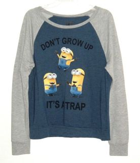 Despicable Me Minion Dont Grow Up Its A Trap Color Block Tee Top TShirt XL 15 17