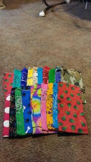 A total of 19 bandanas that my dog wore. I hope someones dog likes to wear them as much as my dog did