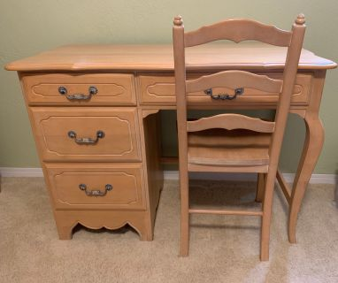 Country French Writing Desk & Chair