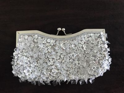 Silver Beaded & Sequin Clutch