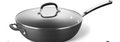 """Simply Calphalon Nonstick 12"""" Jumbo Fryer Pan With Cover - new"""