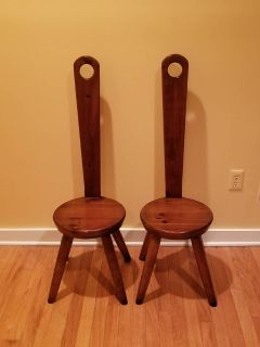 Vintage Pair of William Fetner Keyhole Chairs