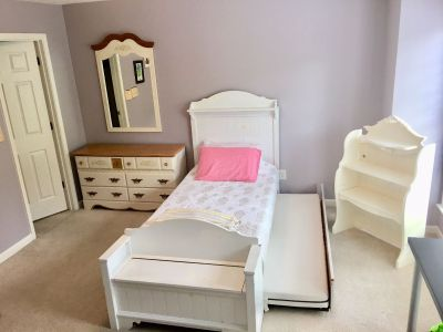 Young girl white bed set