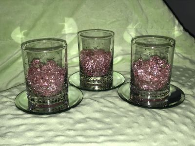 NOT VOTIVE SIZE! 4 Tall, 3 Dia. Clear glass, diver accent, pink stones centerpieces on mirrors.