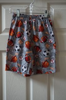 Boys Faded Glory Grey Football/Baseball/Basketball/Soccer Pajama Shorts Size 6/7