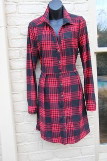 ADORABLE RED AND BLACK PLAID DRESS ~ Perfect for Valentine's Day, Size Large