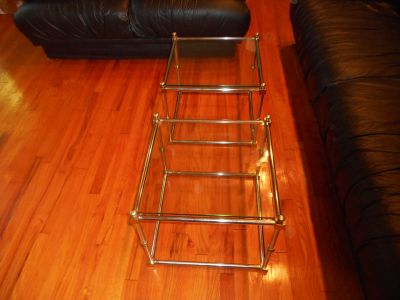 Set of Glass Top End Tables, Chrome & Brass