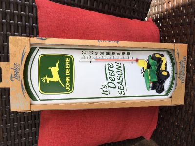 """NEW - IN BOX - """"JOHN DEERE"""" THERMOMETER - INDOOR/OUTDOOR - F*/ C* Temperatures, Easy to Read, Silk Screened for Long Lasting Color -16"""" Tall"""