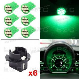 Purchase 6X T10 8 Epistar LED Dashboard Panel Indicator Light Bulb Socket Fits BMW Green motorcycle in Milpitas, California, United States