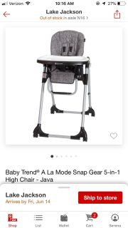 Baby Trend 5 in 1 High Chair.