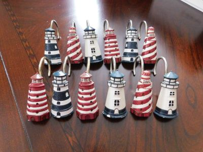 ADORABLE LIGHTHOUSE SHOWER CURTAIN HANGERS, LIKE NEW!