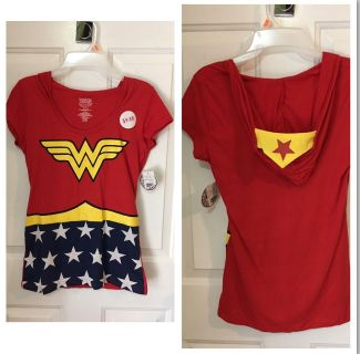 """""""WONDER WOMAN"""" - T shirt with head mask built in hood. Just put on hood and head mask is on! Size MEDIUM- RUNS SMALL - NEW WITH TAGS. $6"""