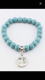 Teal colored anchor bracelet stretchy - NEW!