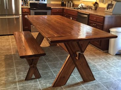 Heart Pine Trestle Table