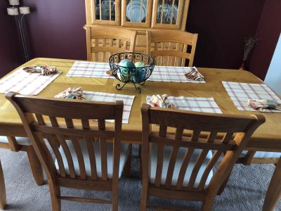 EUC dining table with 6 chairs and hutch