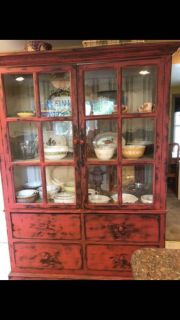 Vintage Cabinet With Paned Glass Doors and Large Drawers