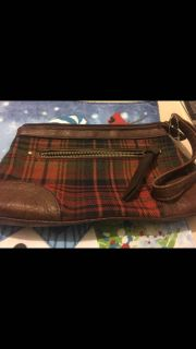 Plaid New with tag , Plaid zip up Wristlet with front zip up pocket can hold a phone plus extras Photo 2 back of it