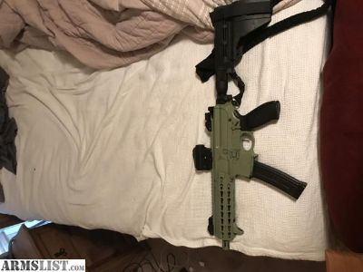 For Sale: Sig mpx 9 mm ranger green. 8 inch barrell 3 30 rd mags. Sungle point sling, arm brace, and vortex green dot scope included