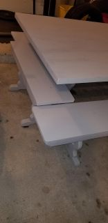 GREAT project table with super cute benches!! 4 benches-2 long and 2 short for the ends