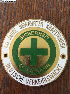 Vintage 40-year Safe Driving Badge German Emblem