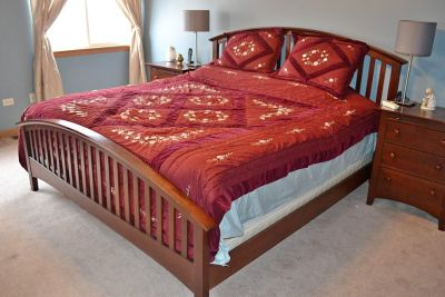 King Bed with Night Stands and Dresser, Mattress (Box spring not included)