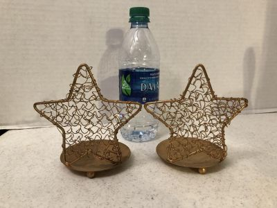 SET OF GOLD GLITTER STAR CANDLE HOLDERS (LS)