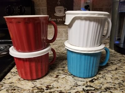 Soup mugs. One solid lid, 2 with microwave vent, one lid missing