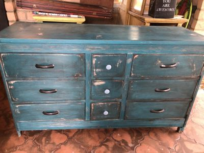 Vintage dresser and nightstand - repainted rustic turquoise