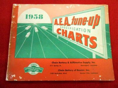 Sell A.E.A. Tune-Up Specification Charts Booklet 1958 Cadillac Lincoln Packard T-Bird motorcycle in San Antonio, Texas, United States