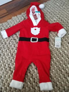 New Santa Claus Baby Hooded Christmas Outfit Sz 0-3m