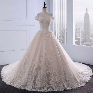 Dakota's Lace Applique A Line Wedding Gown