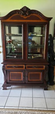 Available today Tuesday June 25 . Beautiful two tone, two Piece China Cabinet