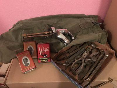 Tools, old tobacco cans, militarily bag with print..All for $20